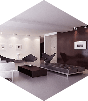 modern room, black and white